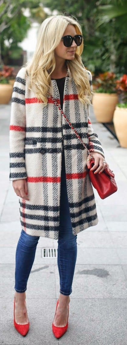 Atlantic pacific plaid coat slim fit pants, fashion accessory