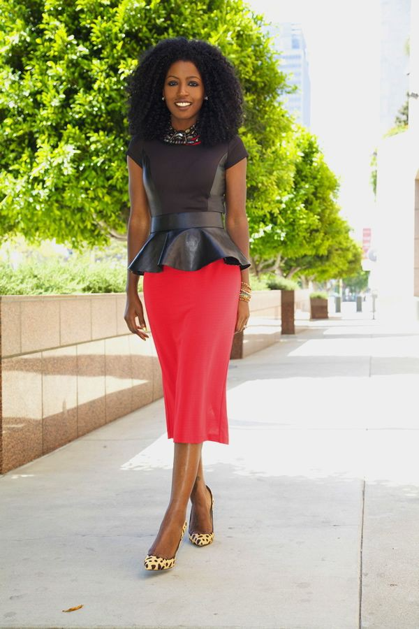 Orange and yellow colour outfit with pencil skirt, miniskirt, blouse