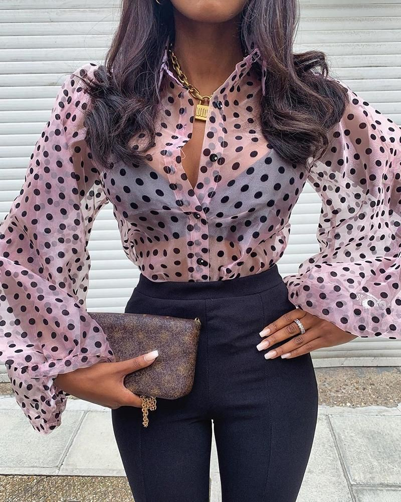Brown and black outfit Stylevore with polka dot, blouse, shirt