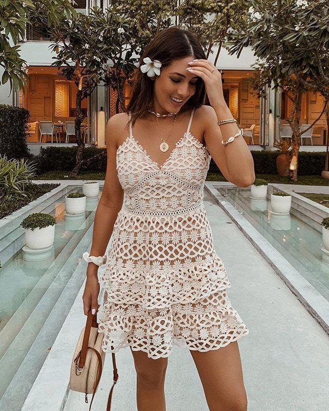 Beauty and lace pale blush crochet lace mini dress