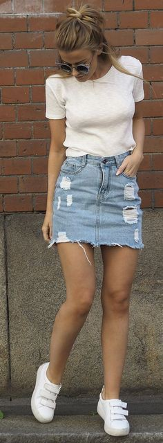 White shirt and denim skirt outfit