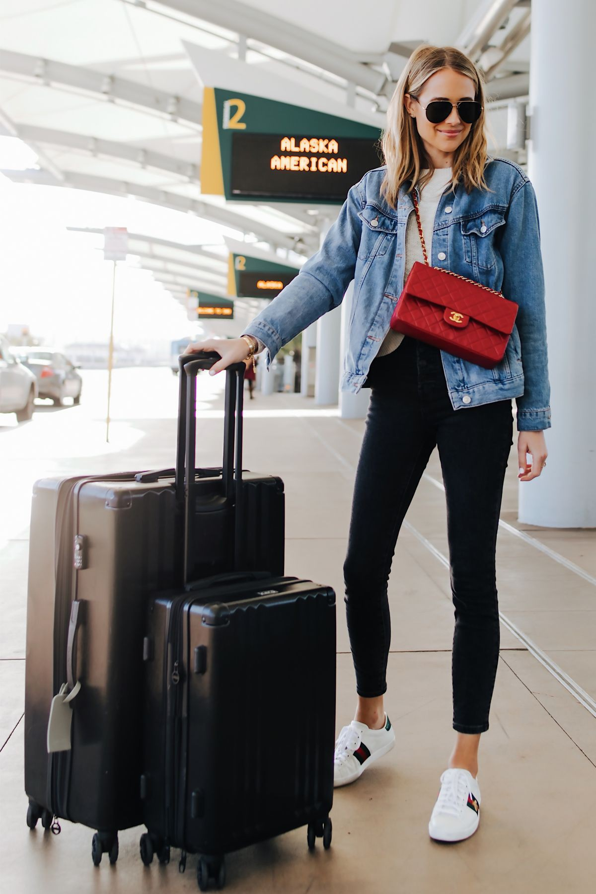 Denim jacket airport outfit womens
