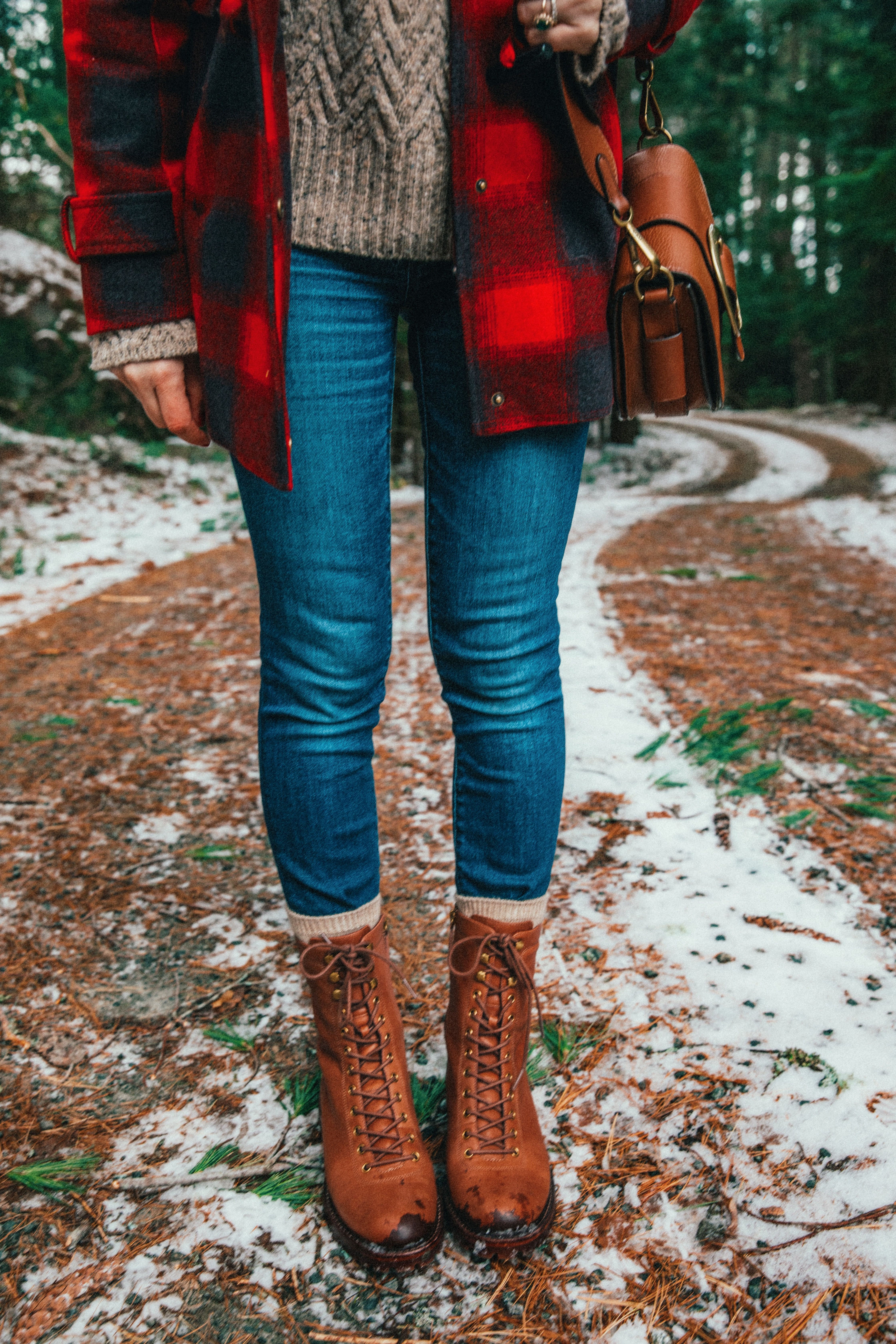 Red classy outfit with mom jeans, tartan, denim