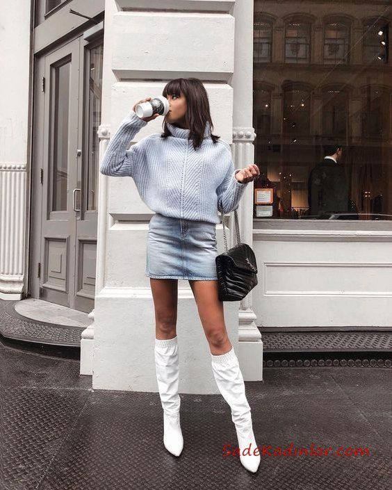 Colour outfit, you must try trend kıyafetler 2019 knee high boot, kisa kot etek