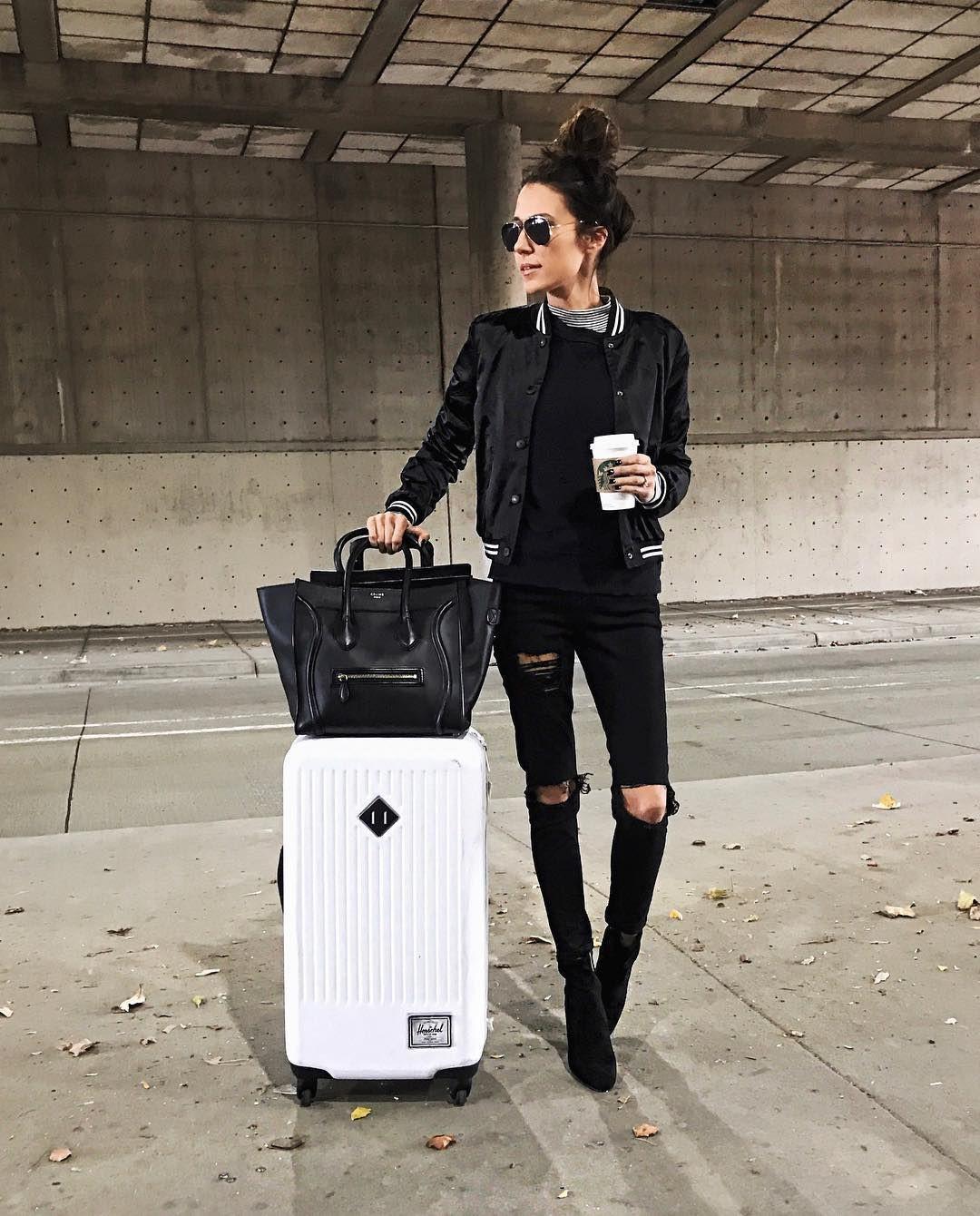 Lookbook fashion black travel outfits, street fashion, hand luggage