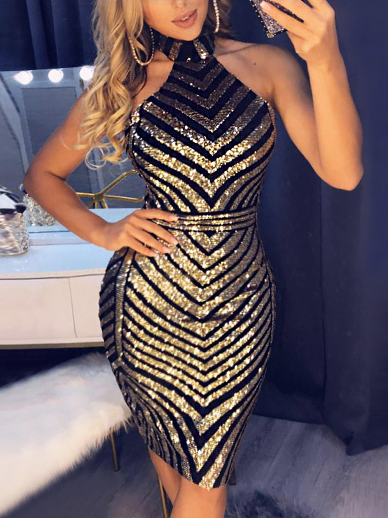 Open back chevron sequin bodycon dress