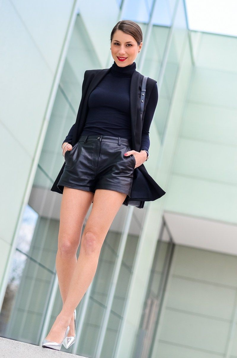 Black instagram fashion with leather, shorts, blazer