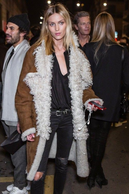 Anja rubik street style, street fashion, fashion design, fur clothing, anja rubik, long hair