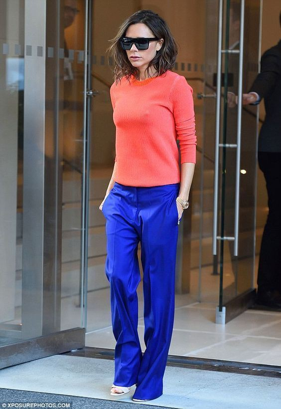 Victoria beckham blue trousers, victoria beckham, street fashion, electric blue, bell bottoms, c ...