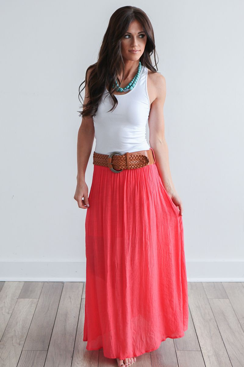 Colour outfit ideas 2020 maxi nederdel coral, cocktail dress, fashion model, casual wear, long s ...