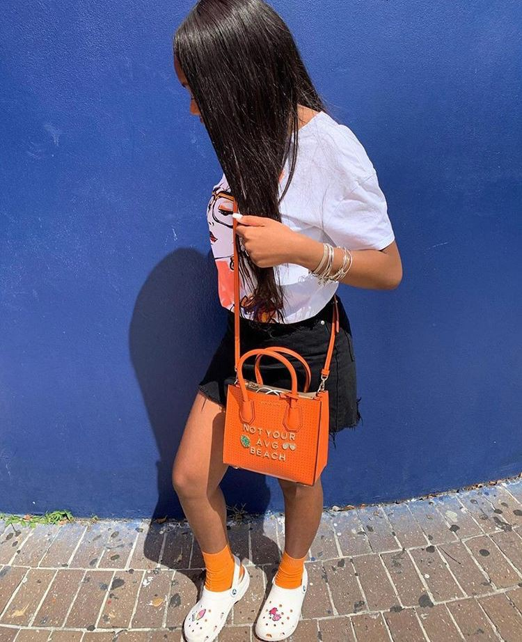Electric blue and orange style outfit with shorts