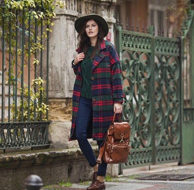 Maroon and brown classy outfit with tartan