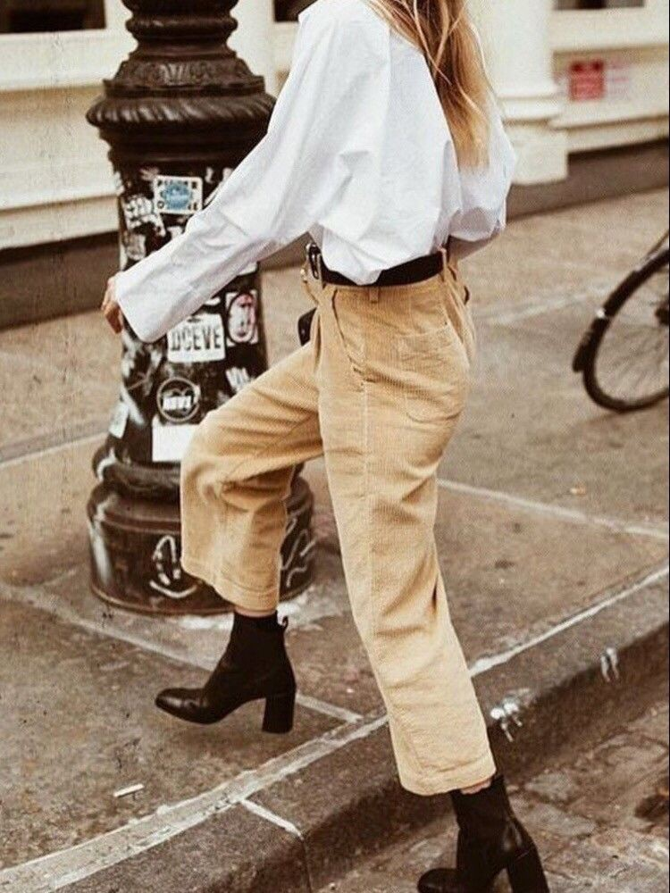 Outfit ideas style corduroy pants, street fashion, bell bottoms, high rise