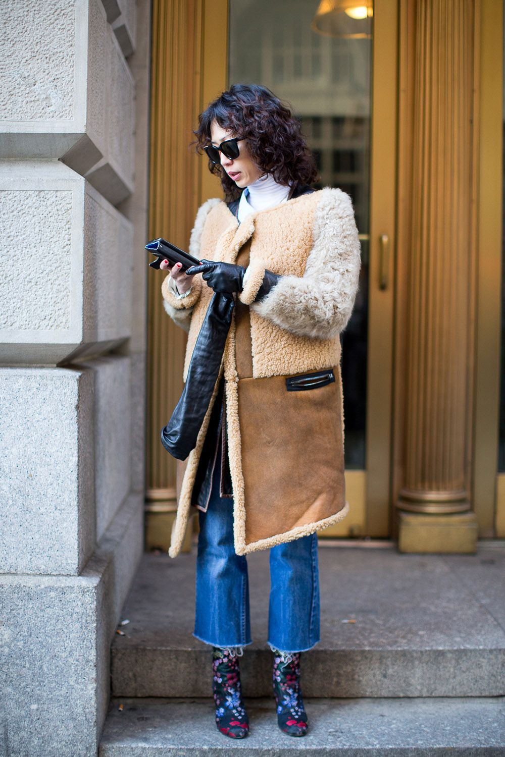 Colour outfit, you must try with fur clothing, jacket, jeans