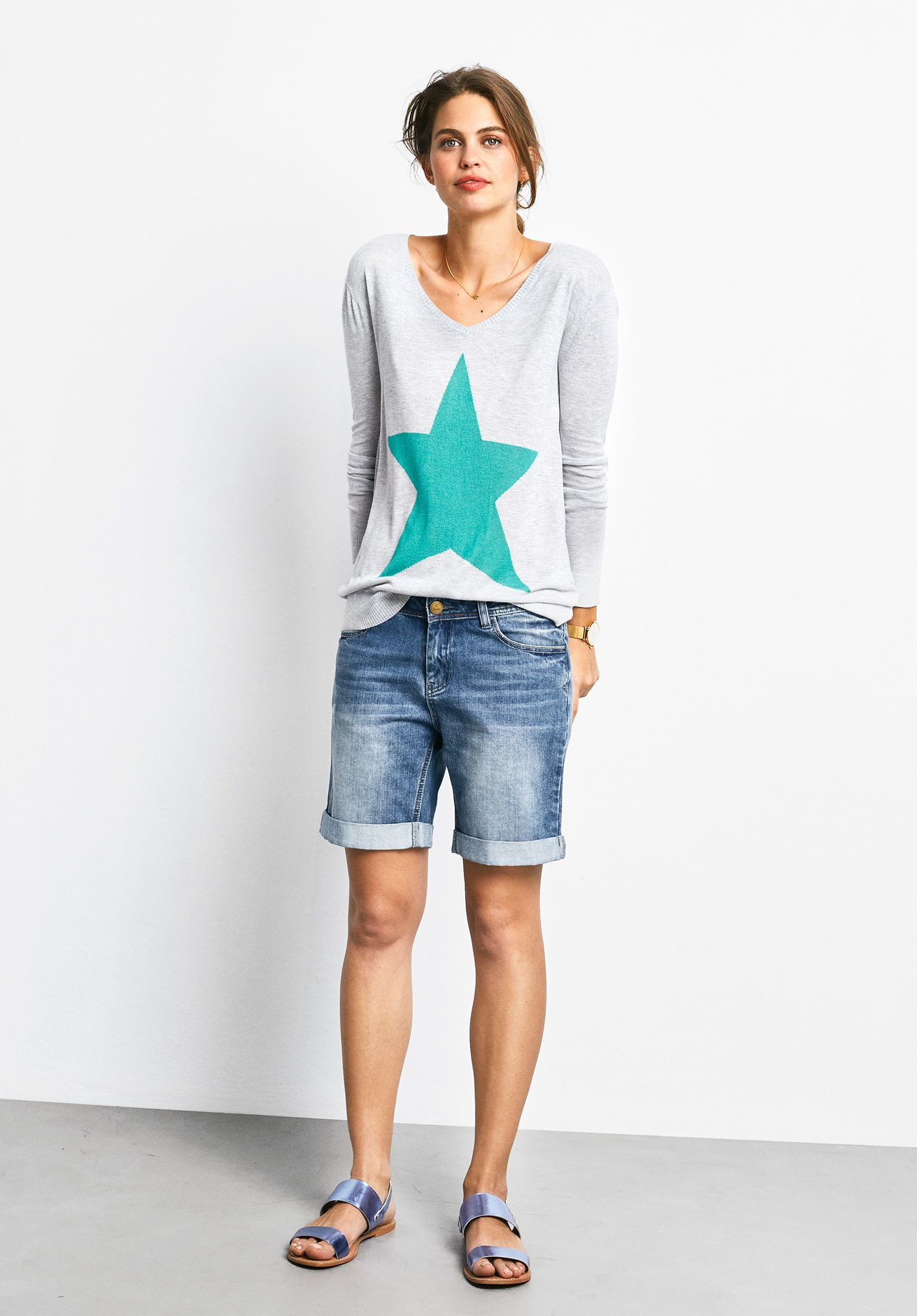 Outfit style with bermuda shorts, sweater, shorts