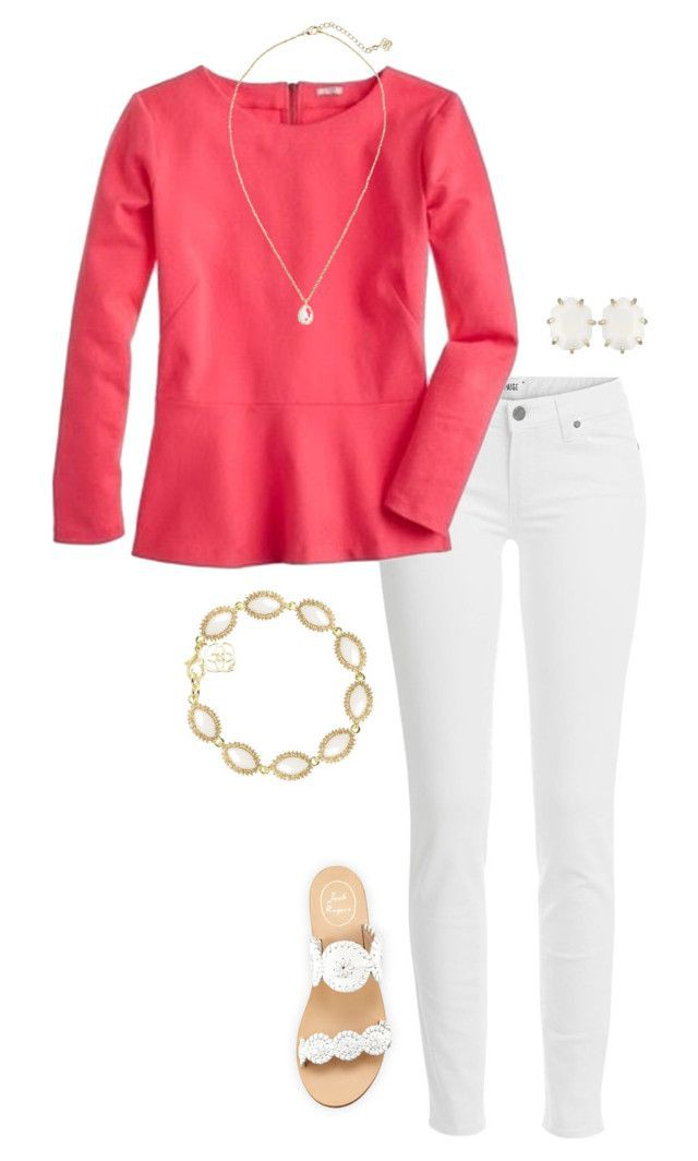 White and pink colour combination with trousers, jeans