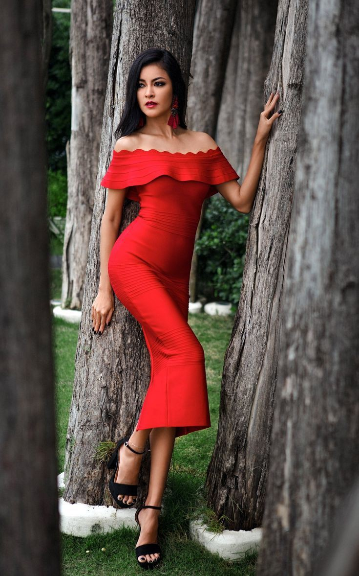 Red colour ideas with little black dress, evening gown, party dress