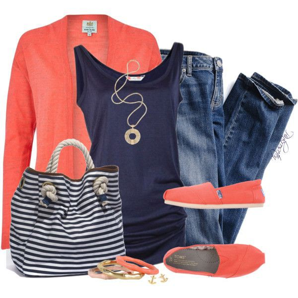 Navy and coral outfit, fashion accessory, casual wear, navy blue