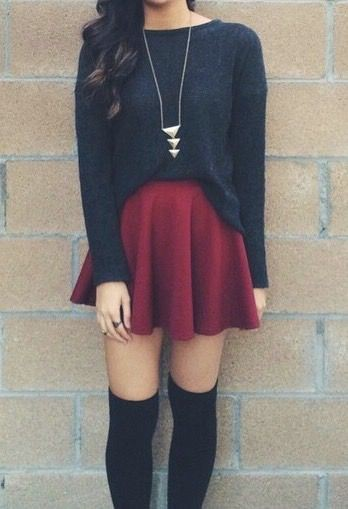Colour outfit, you must try skater skirt outfit, winter clothing, skater skirts, knee highs