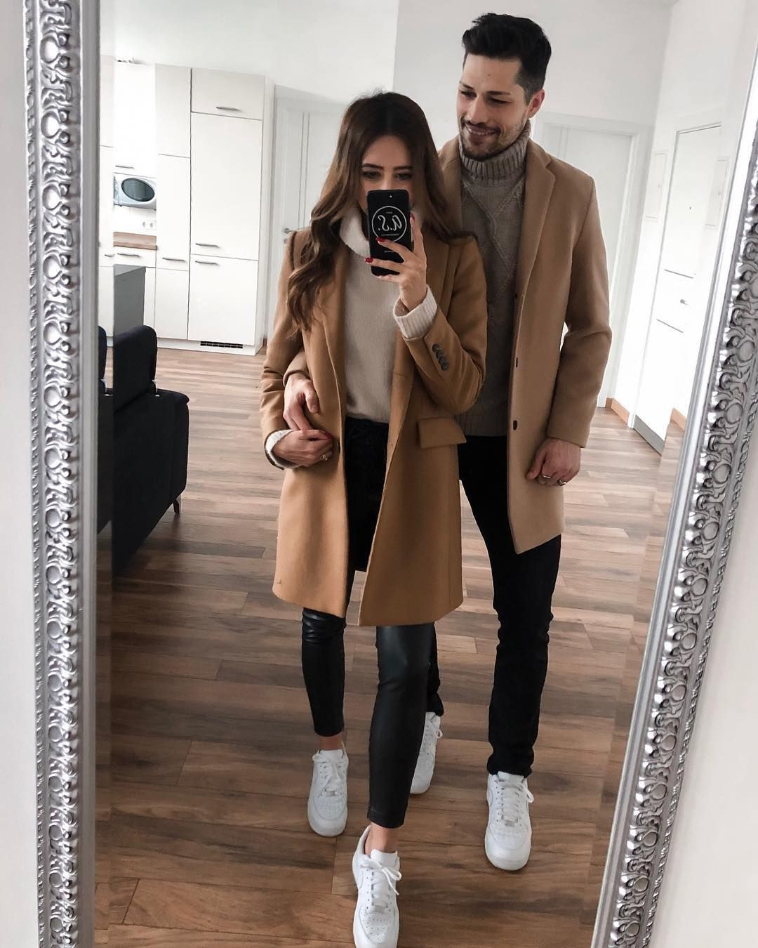 Couple outfit match coat, fashion accessory, leather jacket, couple costume, trench coat