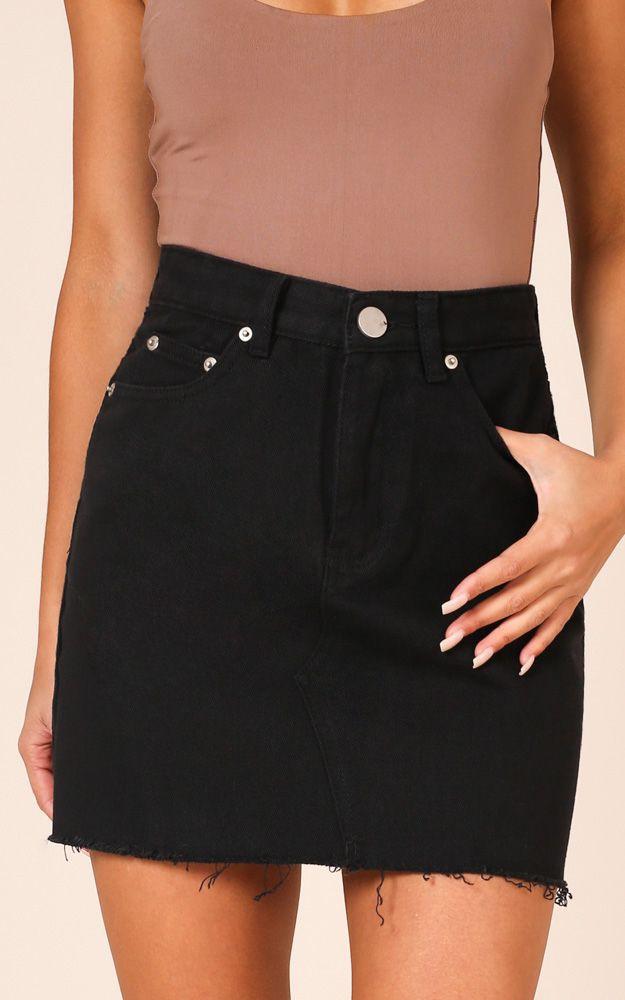 Black clothing ideas with denim skirt, miniskirt, jacket