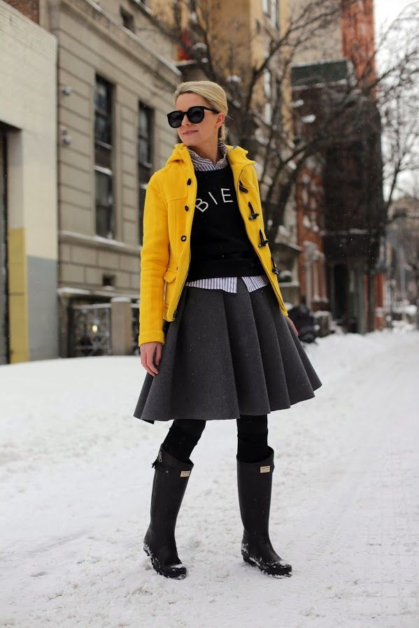 Yellow outfit Pinterest with denim skirt, skirt, coat