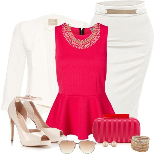 Magenta and white colour combination with day dress, blouse