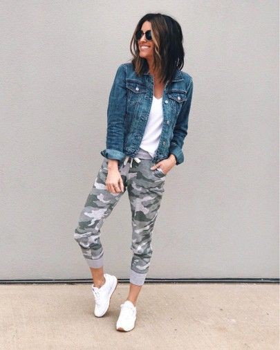 Colour outfit, you must try with active pants, jean jacket, sportswear