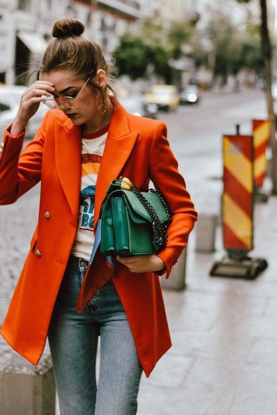 Clothing ideas orange blazer outfit, street fashion, t shirt