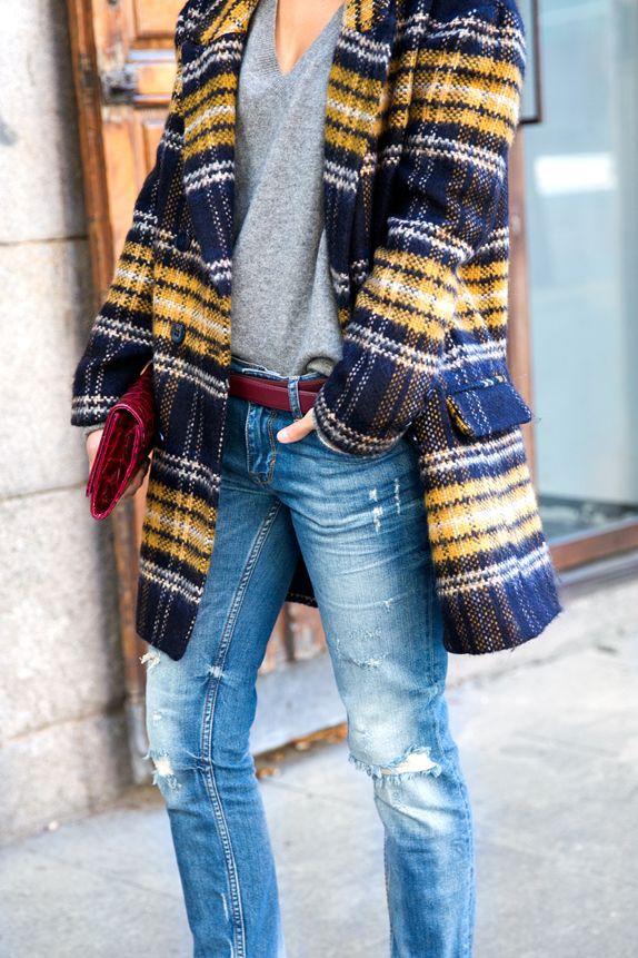 Blue yellow plaid coat, street fashion, plaid jacket, trench coat, plaid coat, t shirt