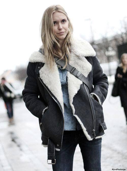 Shearling jacket women street style