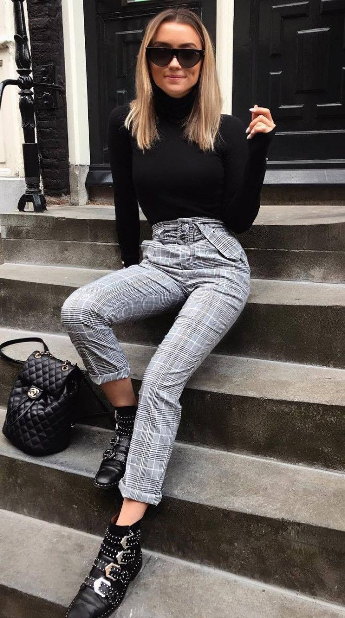 Winter outfits with plaid pants