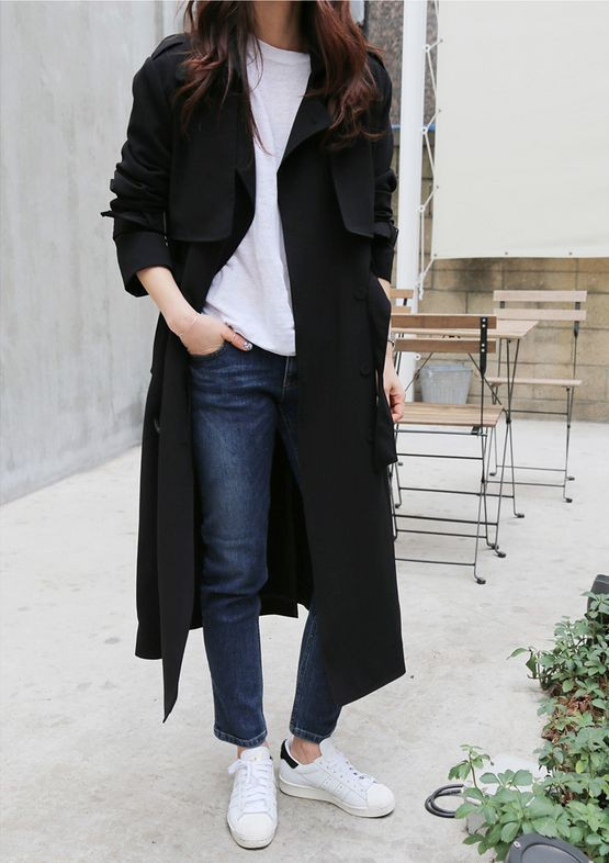 Black trench coat outfit womens