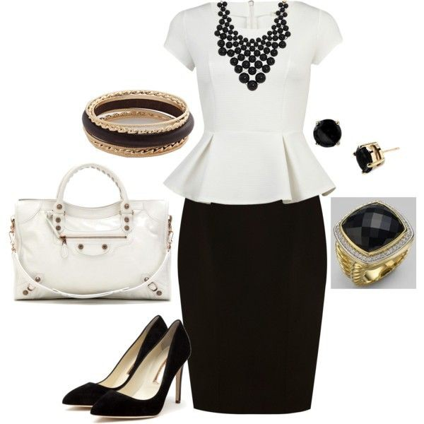White peplum top with black pencil skirt