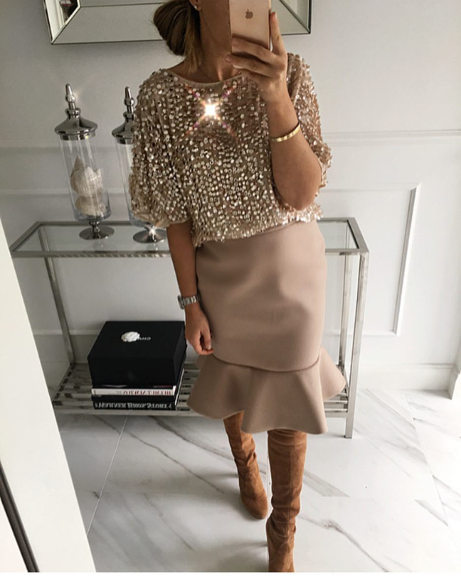 Brown colour outfit with cocktail dress
