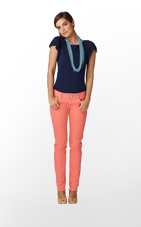 Turquoise and orange attire with blouse, denim, jeans