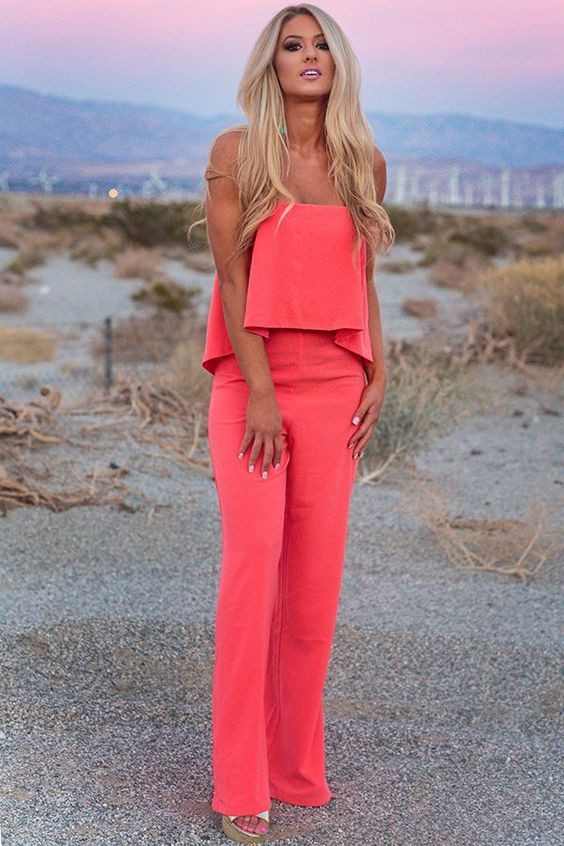 Coral and pink outfit with fashion accessory, romper suit, trousers
