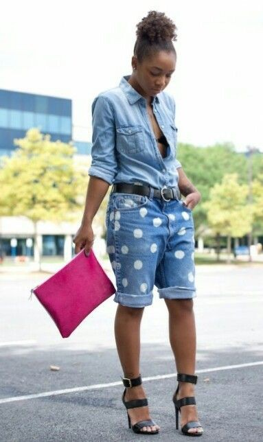 Pink colour dress with bermuda shorts, denim skirt, trousers