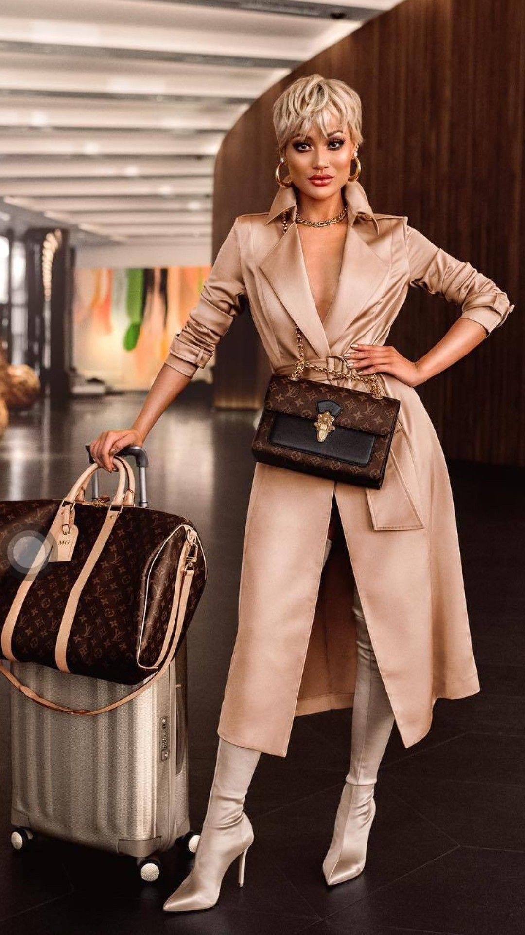 Beige and brown outfit with fashion accessory, trench coat, shirt