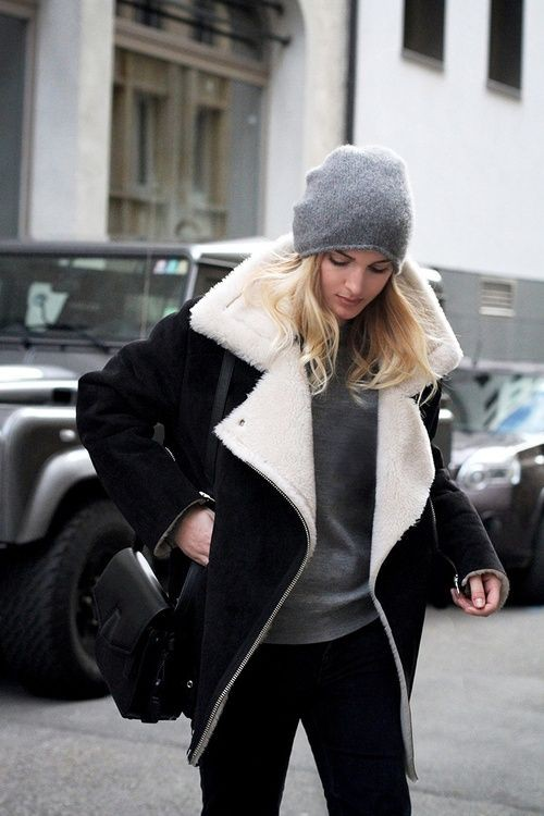 Black and white shearling jacket