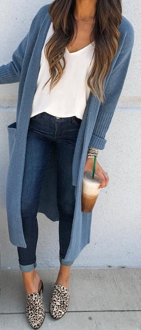 Long blue cardigan outfit slim fit pants, long cardigans