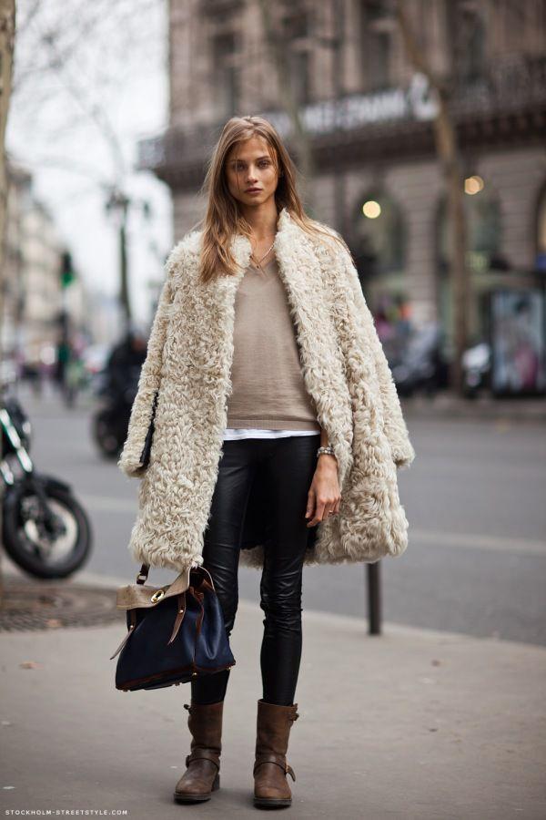 Moda abrigos de pelo, street fashion, fur clothing, fake fur