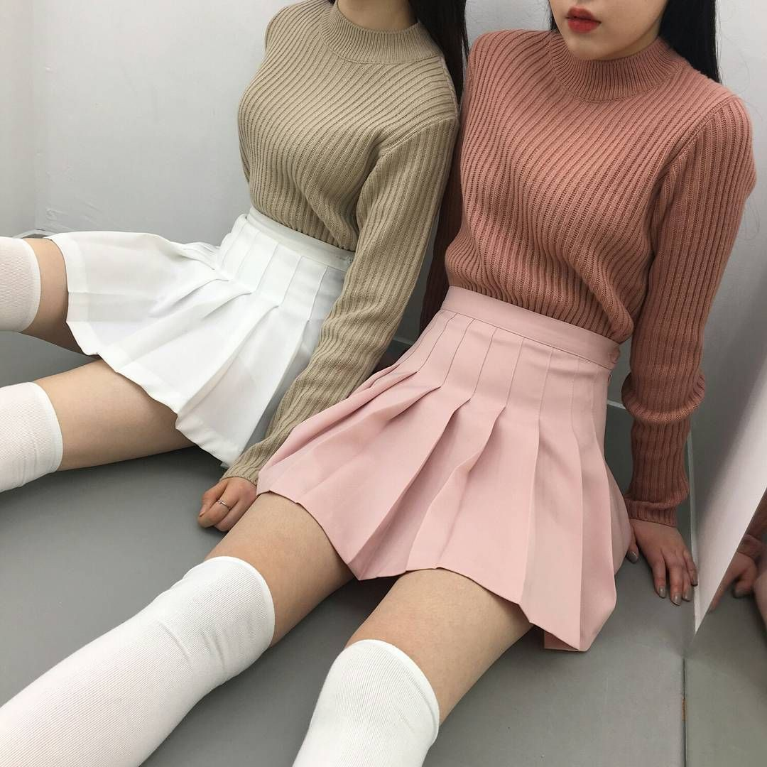 Korean fashion tennis skirt pink