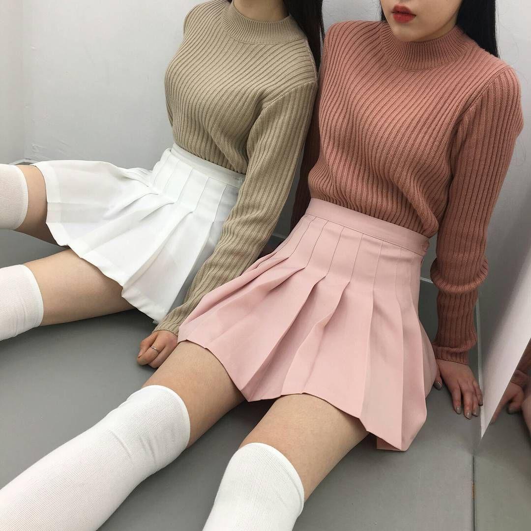 Korean fashion tennis skirt pink