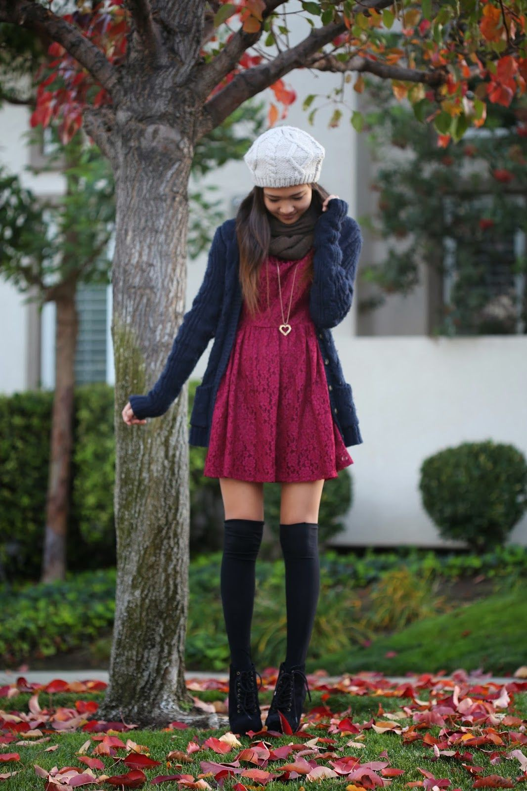 Burgundy lace dress with cardigan