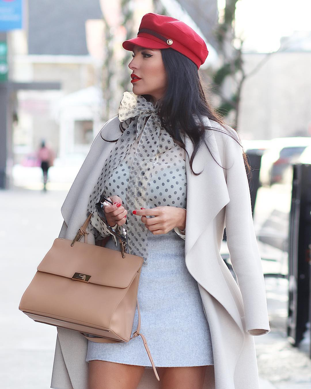 White and pink coat, apparel ideas, street fashion