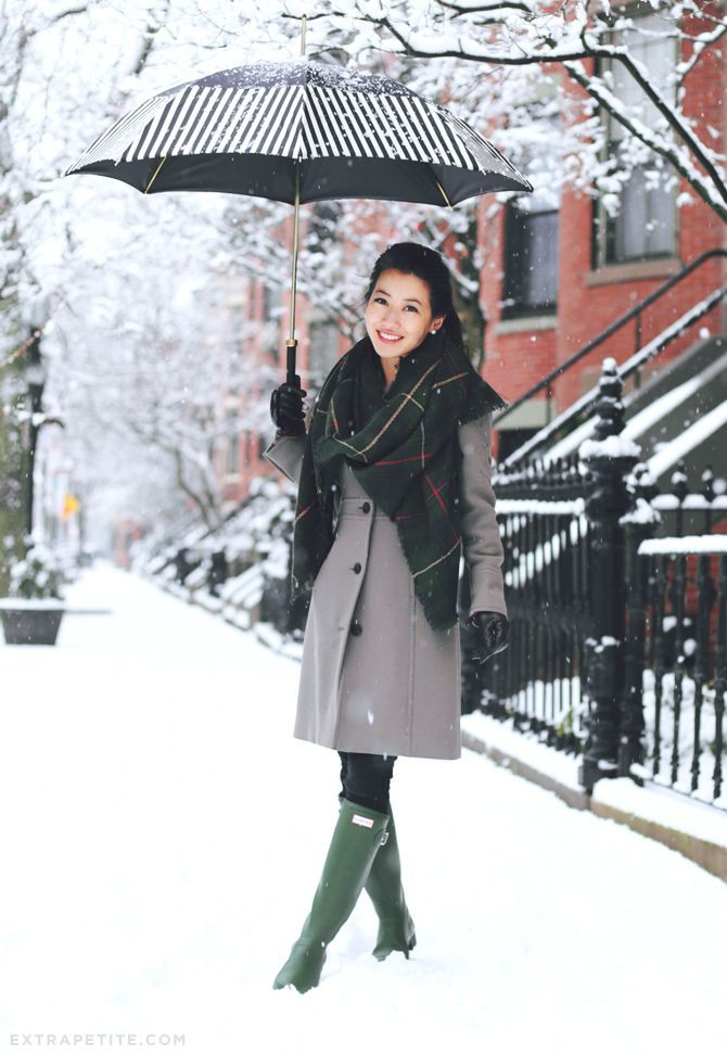 Wool coat in snow, wellington boot, winter clothing, street fashion, j.crew