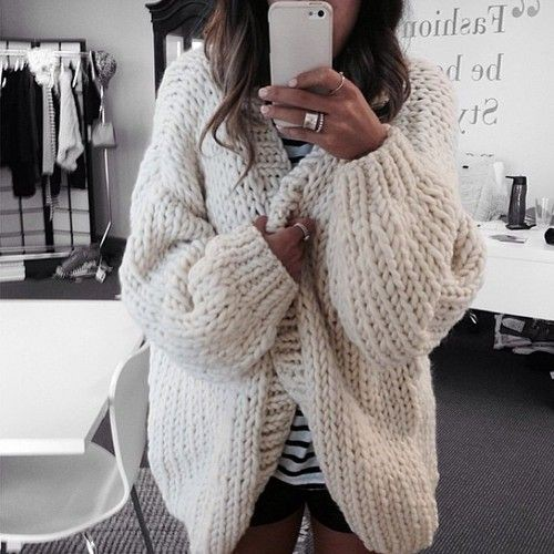 Colour outfit, you must try big knit cardigan chunky knit sweater