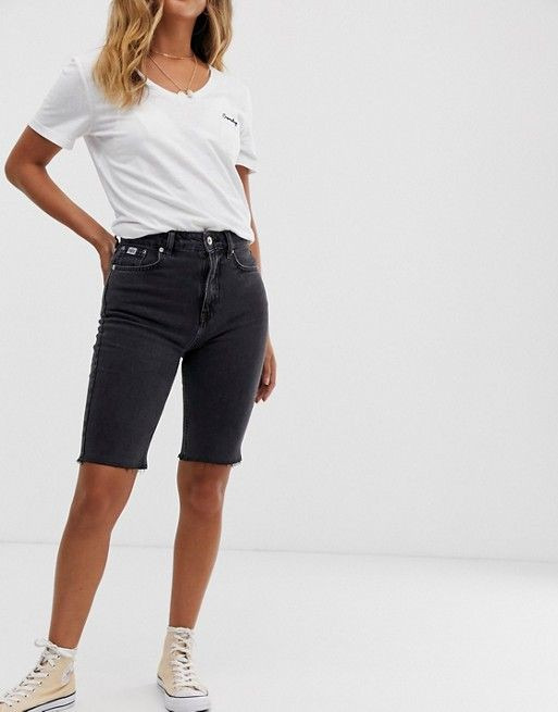 Black and white attire with shorts, denim, jeans
