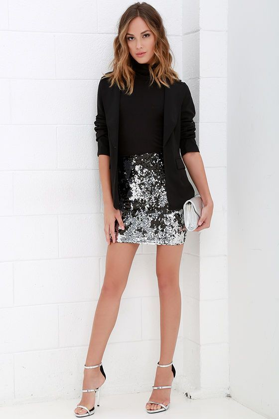 Black sequin skirt outfit ideas